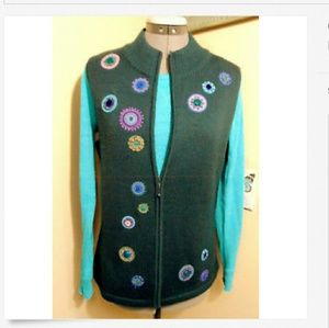 CHRISTOPHER&BANKS Sweater Vest S Teal embroidered
